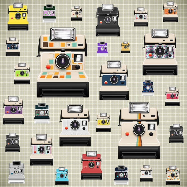 Analog Art Print featuring the photograph Instant Camera Pattern by Setsiri Silapasuwanchai