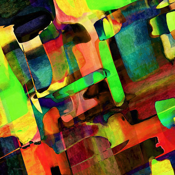 Abstract Art Print featuring the mixed media Intersection by Stacey Chiew