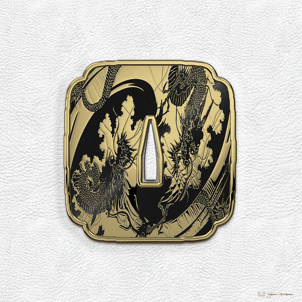 'treasures Of Japan' Collection By Serge Averbukh Art Print featuring the digital art Japanese Katana Tsuba - Golden Twin Dragons On Black Steel Over White Leather by Serge Averbukh