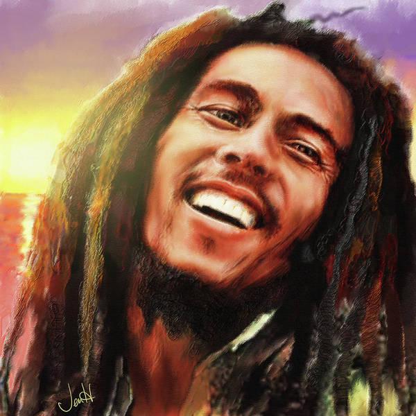 Bob Marley Art Print featuring the painting Joyful Marley Bob Marley Portrait by Jennifer Hickey