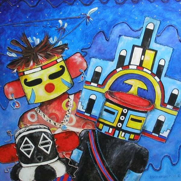Native Art Print featuring the painting Kachina Knights by Elaine Booth-Kallweit