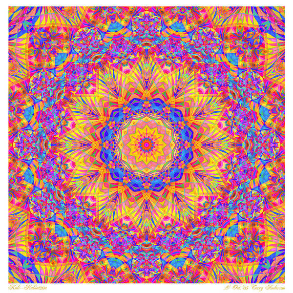 Mandala Art Print featuring the digital art Kaleido - Rubiat 20a - Sq by Terry Anderson