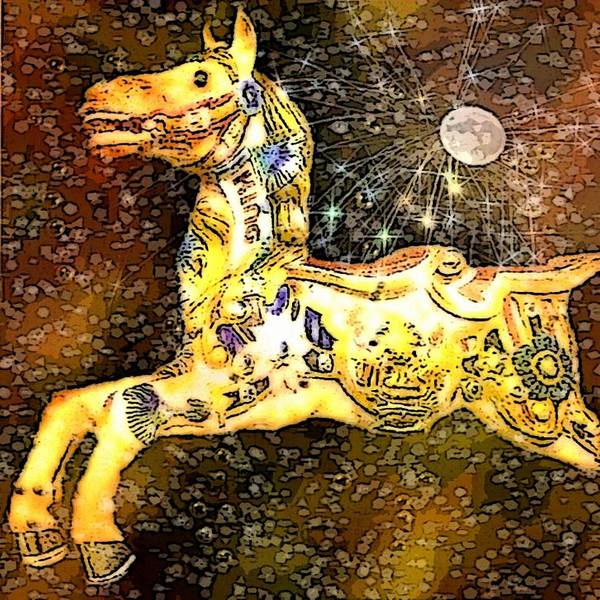 Carousel Horse Moon Sky Night Stars Snowflakes Dreamsequence Gold Yellow Lights Shadows Art Print featuring the mixed media King And The Moon by Susan Epps Oliver