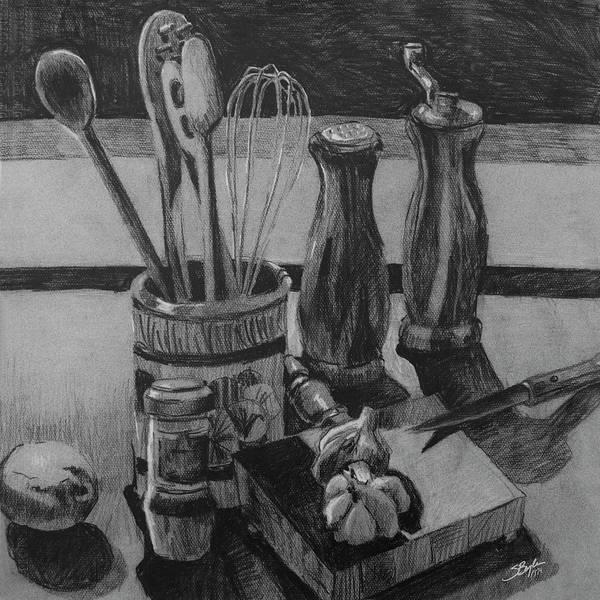 kitchen utensils art. Stephen Boyle Art Print Featuring The Drawing Kitchen Utensils Still Life By I