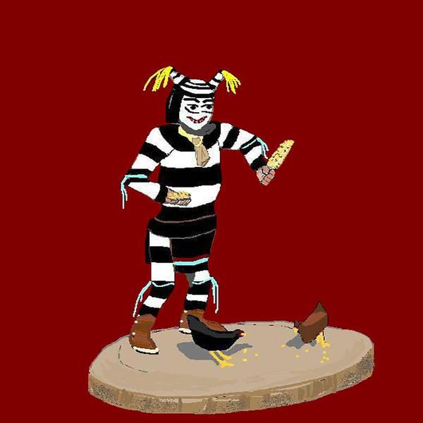 Clown Art Print featuring the digital art Koshari Kachina by Carole Boyd