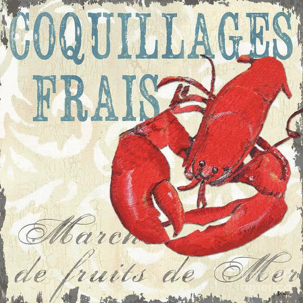 Coastal Art Print featuring the painting La Mer Shellfish 2 by Debbie DeWitt