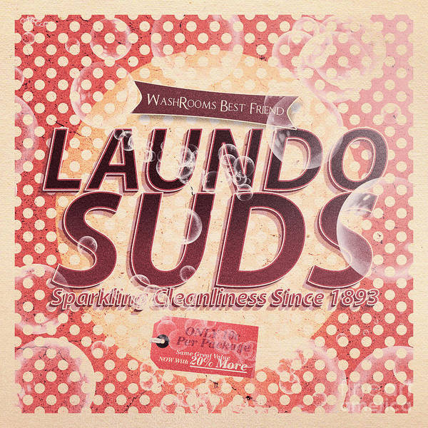 Tin Sign Art Print featuring the digital art Laundo Soap Suds Advertising by Jorgo Photography - Wall Art Gallery