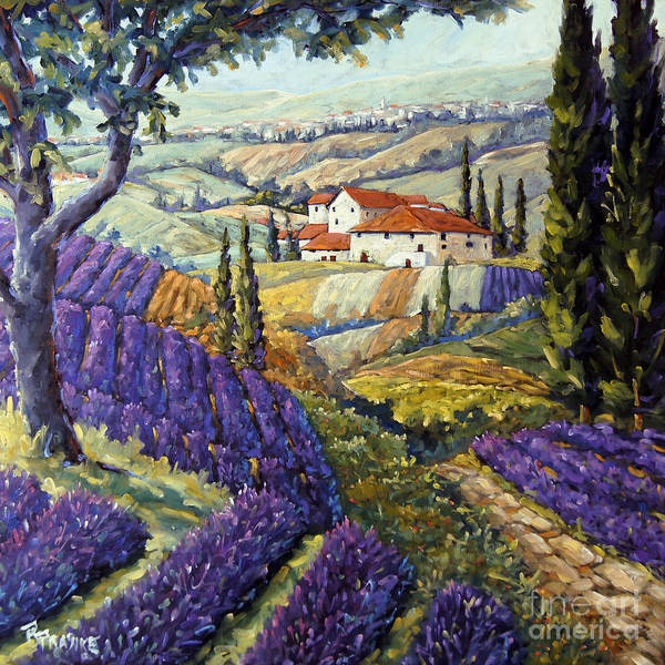 Canadian Artist Painter Art Print featuring the painting Lavender Fields Tuscan By Prankearts Fine Arts by Richard T Pranke