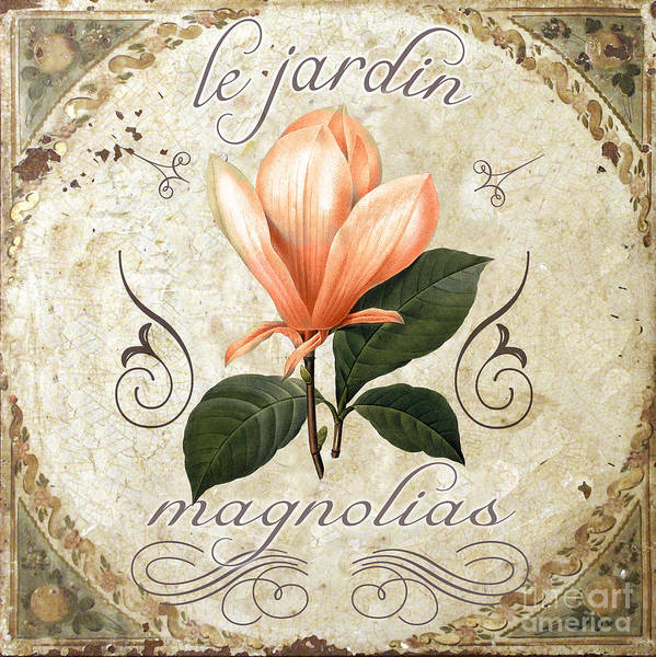 Coral Magnolias Art Print featuring the painting Le Jardin Magnolias by Mindy Sommers