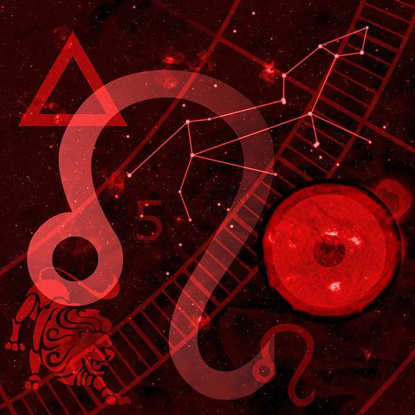 Horoscope Print featuring the digital art Leo by JP Rhea
