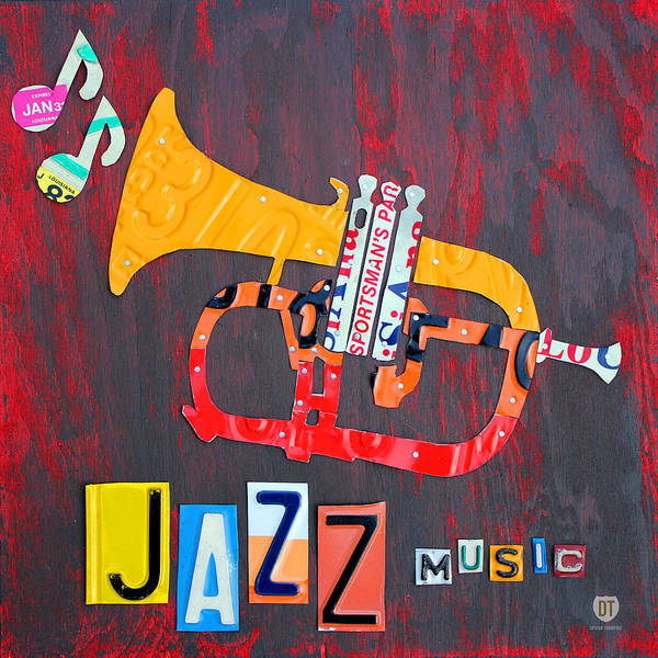 Jazz Art Print featuring the mixed media License Plate Art Jazz Series Number One Trumpet by Design Turnpike