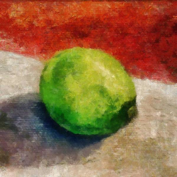 Lime Art Print featuring the painting Lime Still Life by Michelle Calkins