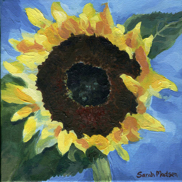 Sunflower Art Print featuring the painting Little Miss Sunshine by Sarah Madsen