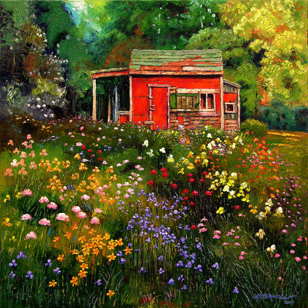 Flower Garden Art Print featuring the painting Little Red Flower Shed by John Lautermilch
