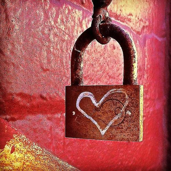 Lock Art Print featuring the photograph Lock/heart by Julie Gebhardt