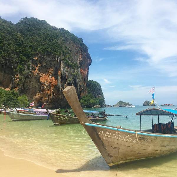 Thailand Art Print featuring the photograph Lounging Longboats by Ell Wills