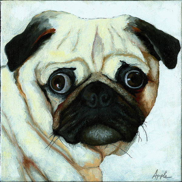 Dogs Art Print featuring the painting Love At First Sight - Pug by Linda Apple