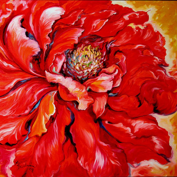 Red Art Print featuring the painting Love Is Forever Red Peony by Marcia Baldwin