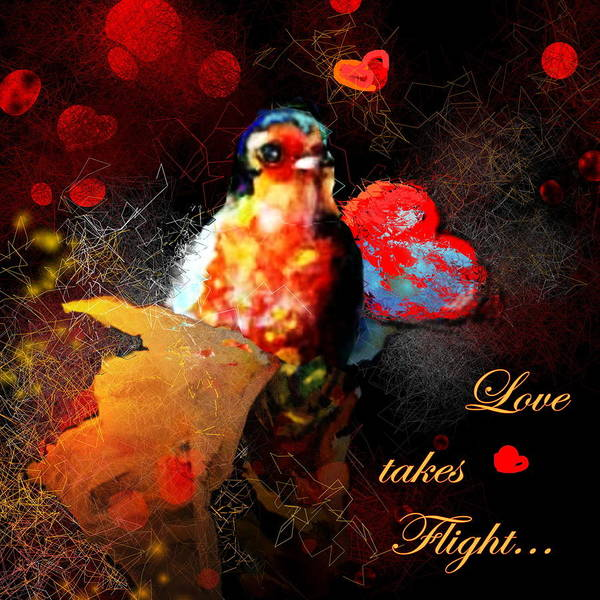 Love Art Print featuring the painting Love Takes Flight by Miki De Goodaboom