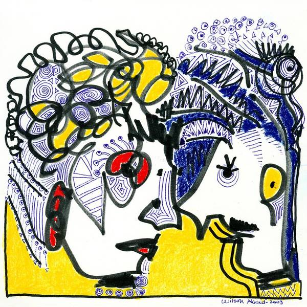 Portrait Art Print featuring the drawing Loving Couple by Wilson Abad