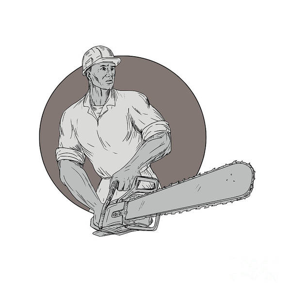 Drawing Art Print featuring the digital art Lumberjack Arborist Holding Chainsaw Oval Drawing by Aloysius Patrimonio
