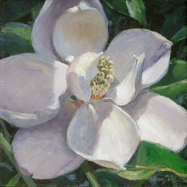 Magnolia Art Print featuring the painting Magnolia by L Diane Johnson