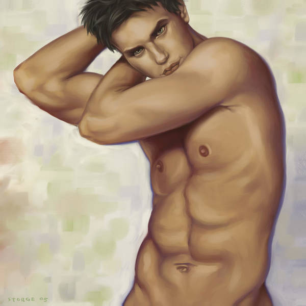 Male Art Print featuring the painting Male Nude 1 by Simon Sturge