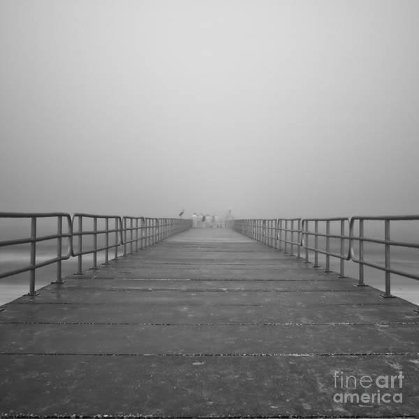 Infrared Art Print featuring the photograph Manatee Beach Pier In Fog Infrared 39 by Rolf Bertram