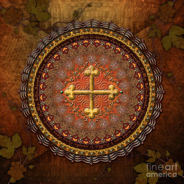 Mandala Art Print featuring the digital art Mandala Armenian Cross by Bedros Awak