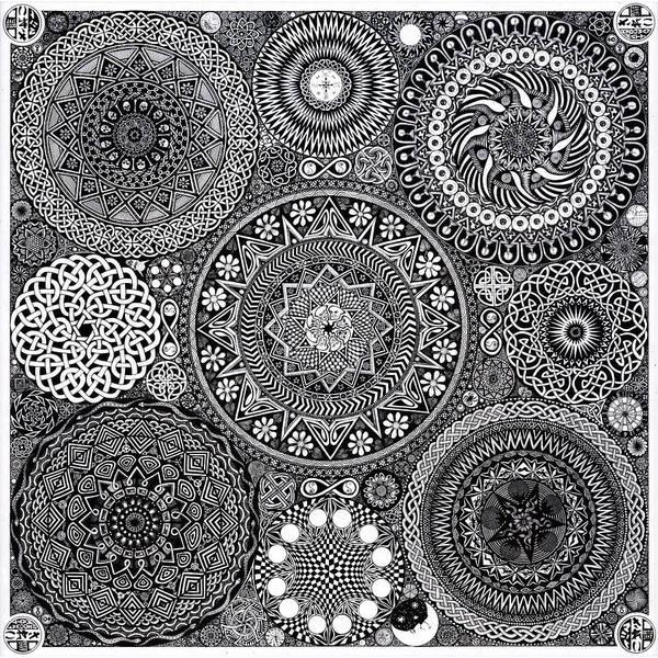Mandala Art Print featuring the drawing Mandala Bouquet by Matthew Ridgway