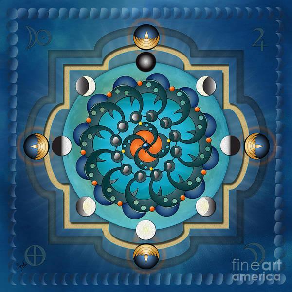 Moon Art Print featuring the digital art Mandala Moon Phases by Peter Awax