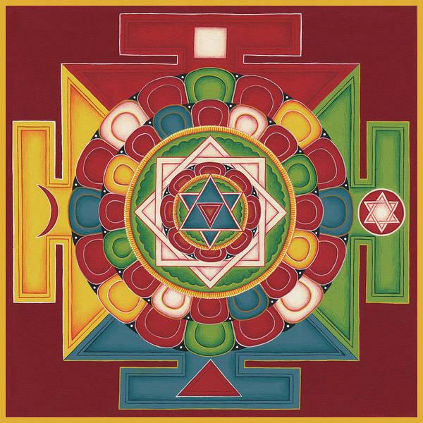 Mandala Art Print featuring the painting Mandala Of The 5 Elements Earth-water-fire-air-space by Carmen Mensink