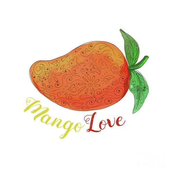 Mandala Art Print featuring the digital art Mango Love Fruit Watercolor Mandala by Aloysius Patrimonio