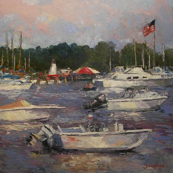 Boats Art Print featuring the painting Manhasset Bay by Tom Forgione