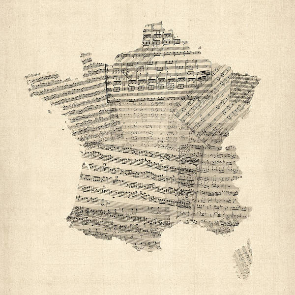 France Map Art Print featuring the digital art Map Of France Old Sheet Music Map by Michael Tompsett