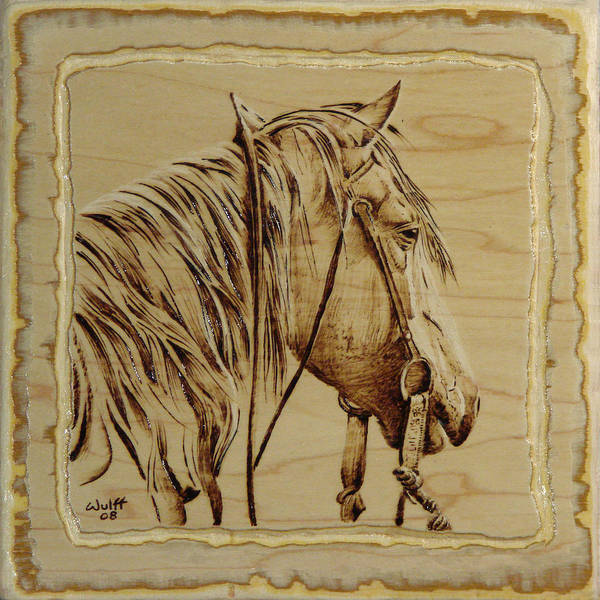Horse Art Print featuring the pyrography Maple Horse by Chris Wulff