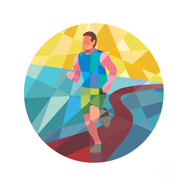 Low Polygon Art Print featuring the digital art Marathon Runner In Action Circle Low Polygon by Aloysius Patrimonio