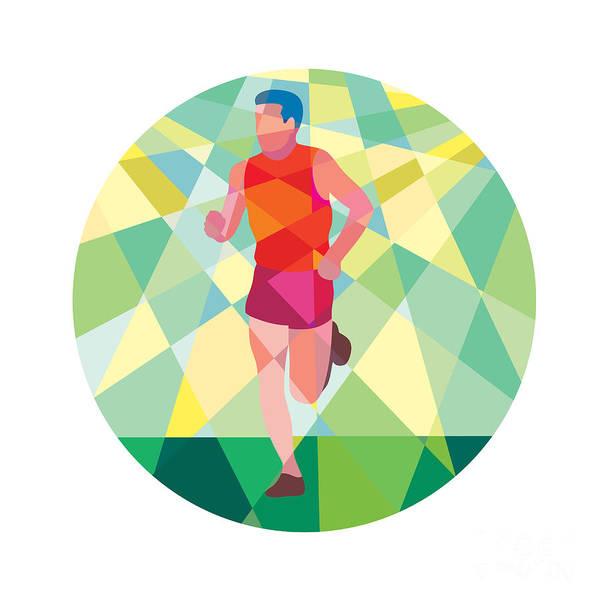 Low Polygon Art Print featuring the digital art Marathon Runner Running Circle Low Polygon by Aloysius Patrimonio