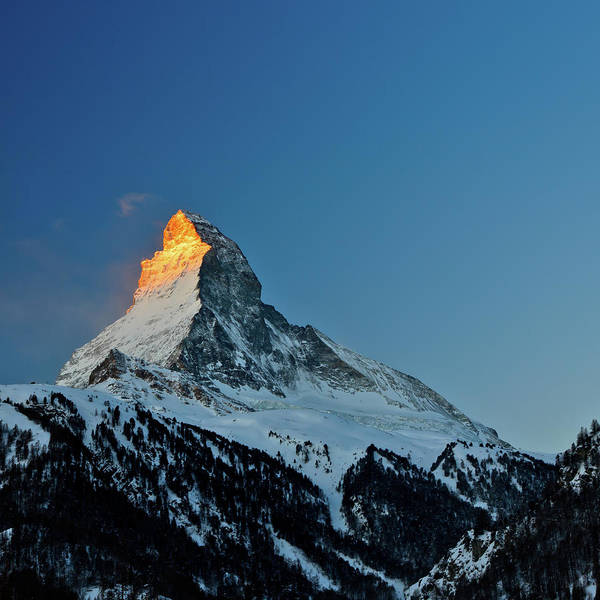 Square Art Print featuring the photograph Matterhorn Switzerland Sunrise by Maria Swärd