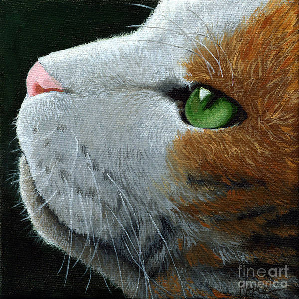 Cat Portrait Art Print featuring the painting Max - Neighbor Cat Painting by Linda Apple