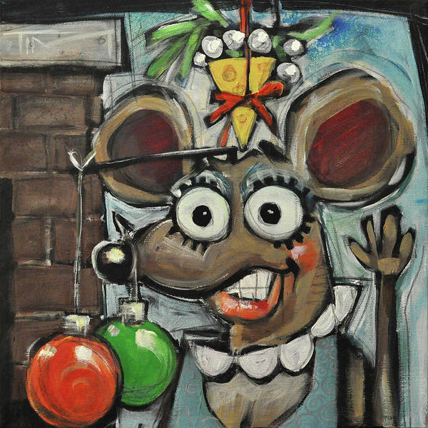 Christmas Art Print featuring the painting Merry Chrismouse by Tim Nyberg