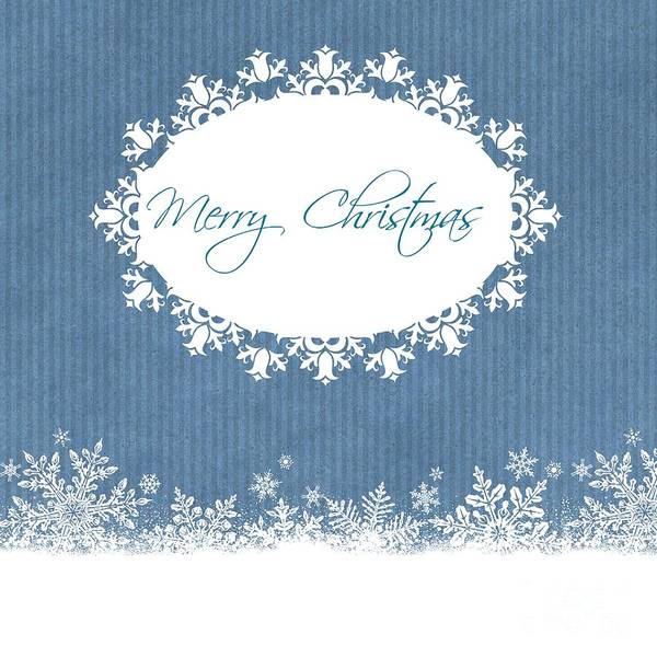 Cards Art Print featuring the photograph Merry Christmas In Blue by Sharon Johnston