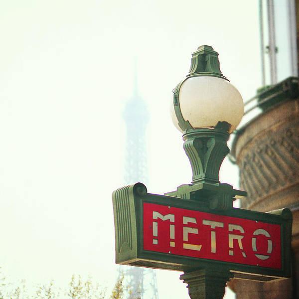 Square Art Print featuring the photograph Metro Sing Paris by Gabriela D Costa