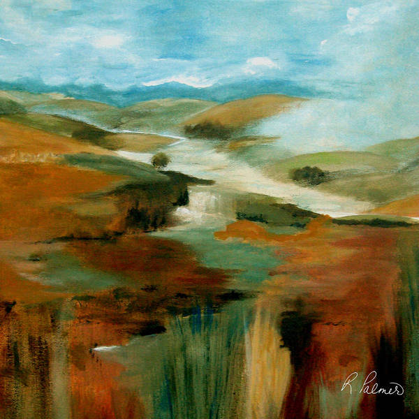 Abstract Art Print featuring the painting Misty Hills by Ruth Palmer
