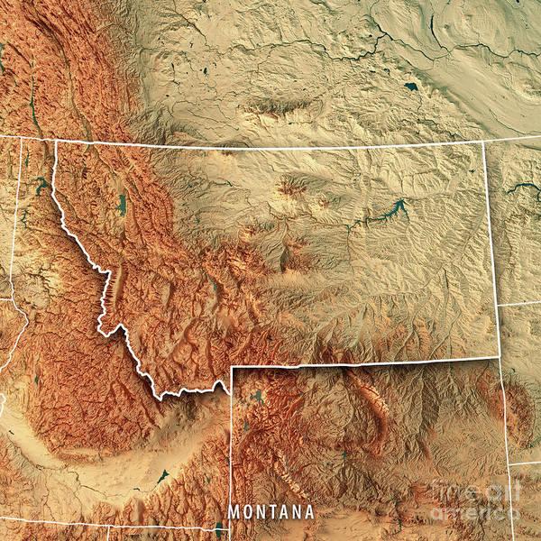 Montana State Usa 3d Render Topographic Map Border Art Print