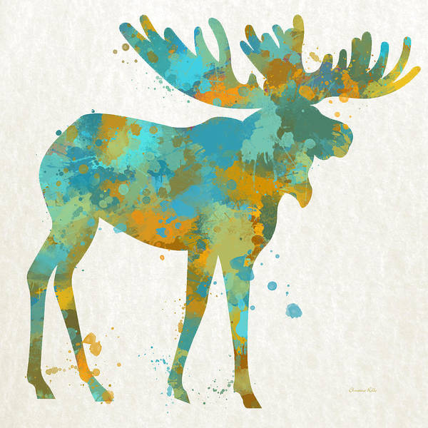 Moose Art Print featuring the mixed media Moose Watercolor Art by Christina Rollo