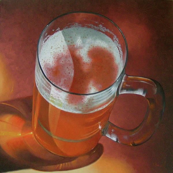 Beer Art Print featuring the painting Mug Of Beer by Timothy Jones