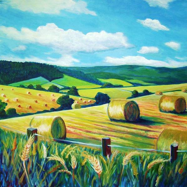 Landscape Art Print featuring the painting Munlochy Bales by Stephanie Maclean