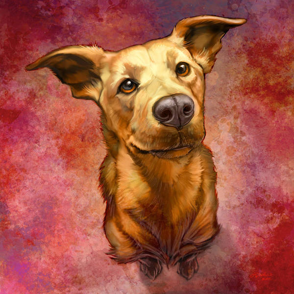 Dog Art Print featuring the painting My Buddy by Sean ODaniels