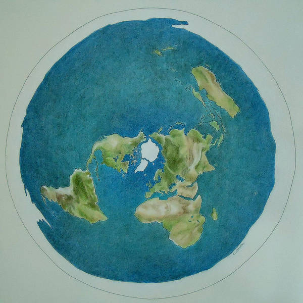 #flat Art Print featuring the drawing My Flat Earth by Cati Simon